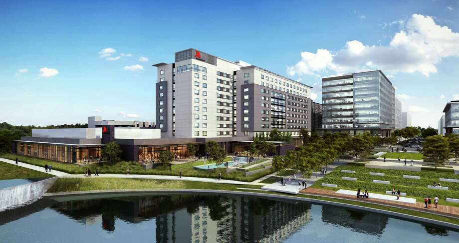 Woodbine Development Corp., in partnership with CDC Houston and USAA Real Estate Co., broke ground on a 10-story Marriott CityPlace hotel in Springwoods Village. The 337-room hotel, located in the eastern end of the CityPlace mixed-use district next to CityPlace Plaza, is planned to open in November 2018. Photo: Woodbine Development Corp.