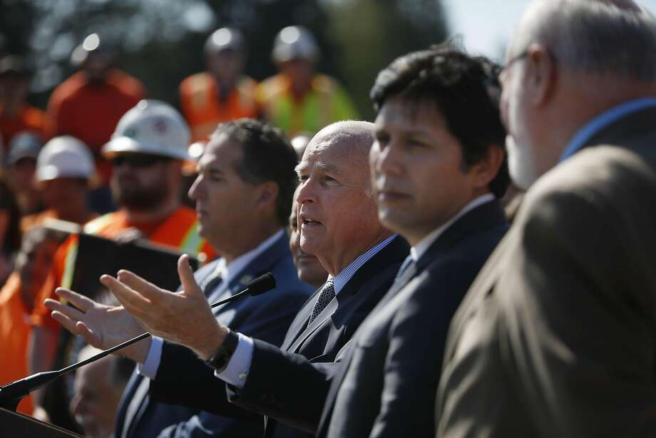 Governor Jerry Brown speaks during a press conference announcing a transportation investment package to fix roads, freeways and bridges across California and invest more toward transit and safety on Thursday, March 30, 2017 in Concord, Calif. Photo: Lea Suzuki, The Chronicle