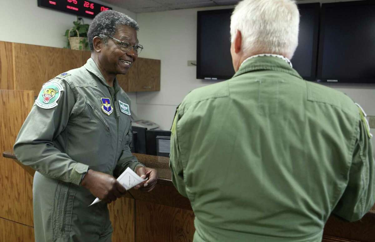 """Tony Marshall (left) and Jack Trimble prepare for their """"fini flight"""" honors. or champagne flight Thursday March 30, 2017 with the 560th Flight Training Squadron """"Chargin' Cheetahs"""" of the 12th Flying Training Wing. Both men were shot while fighting in Vietnam and were never able to have their champagne flight. This was the first """"fini"""" flight to honor air crew shot down over North Vietnam who were not pilots."""