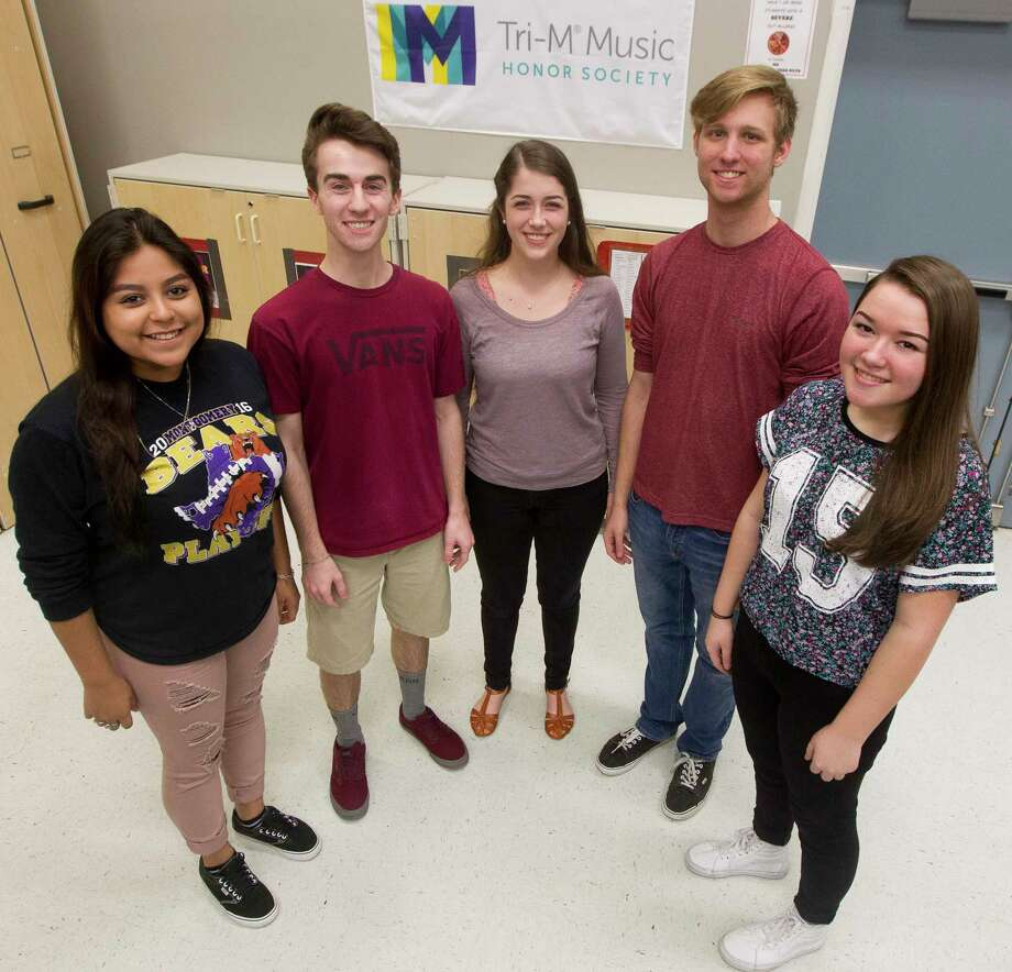 Montgomery High School students Jennifer Mejia, Tyler Hermes, Catherine Wallace, Adam Wyle and Emily LeBlanc were named to the Texas Music Educators Assocation's All-State choir. Photo: Jason Fochtman, Staff Photographer / © 2017 Houston Chronicle