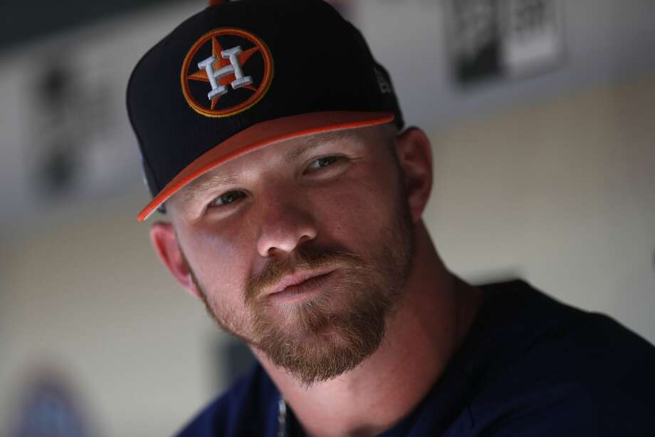 Derek Fisher, the toolsy left-handed hitting outfielder the Astros called up Wednesday, made his major league debut in the team's series finale against the Texas Rangers. Photo: Karen Warren/Houston Chronicle