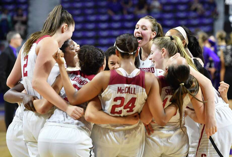 MANHATTAN, KS - MARCH 20:  Players of the Stanford Cardinal celebrate after beating the Kansas State Wildcats during the second round of the 2017 NCAA Women's Basketball Tournament and advancing to the round of sixteen at Bramlage Coliseum on March 20, 2017 in Manhattan, Kansas.  (Photo by Peter G. Aiken/Getty Images) Photo: Peter G. Aiken / Getty Images / 2017 Peter G. Aiken