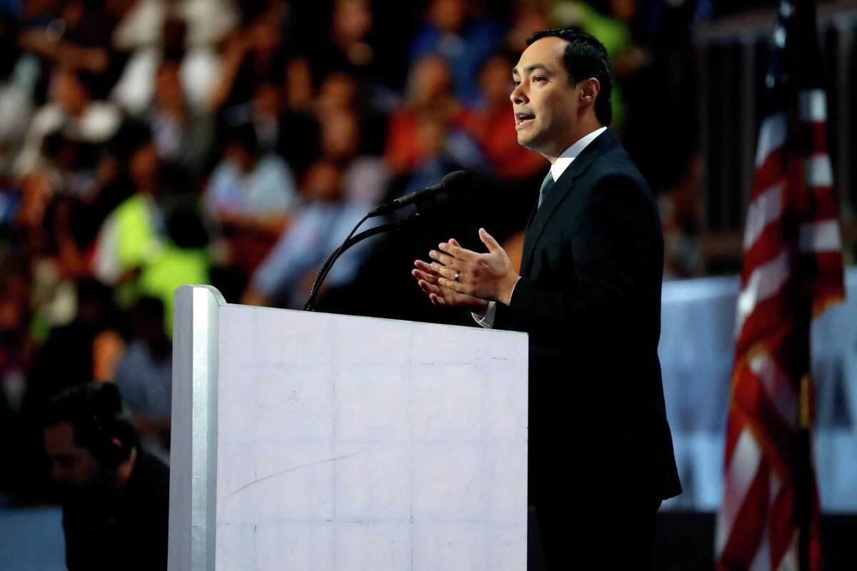 PHILADELPHIA, PA - JULY 28: U.S. Representative Joaquin Castro (D-TX) delivers remarks on the fourth day of the Democratic National Convention at the Wells Fargo Center, July 28, 2016 in Philadelphia, Pennsylvania. Democratic presidential candidate Hillary Clinton received the number of votes needed to secure the party's nomination. An estimated 50,000 people are expected in Philadelphia, including hundreds of protesters and members of the media. The four-day Democratic National Convention kicked off July 25. (Photo by Aaron P. Bernstein/Getty Images)