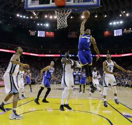 Warriors' guard Andre Iguodala (9) is driving and slashing with seemingly fresh legs down the stretch