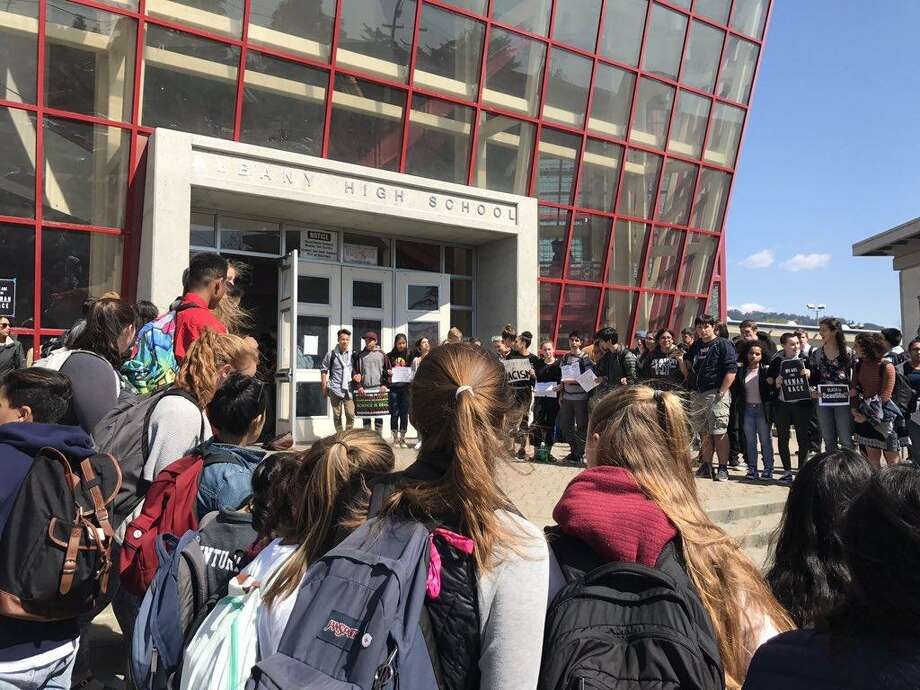 Students at Albany High School walked out of classes Thursday in protest of return to school of a group of classmates who had been suspended for allegedly posting racist attacks about fellow students on social media. Photo: Filipa Ioannou / The Chronicle / /