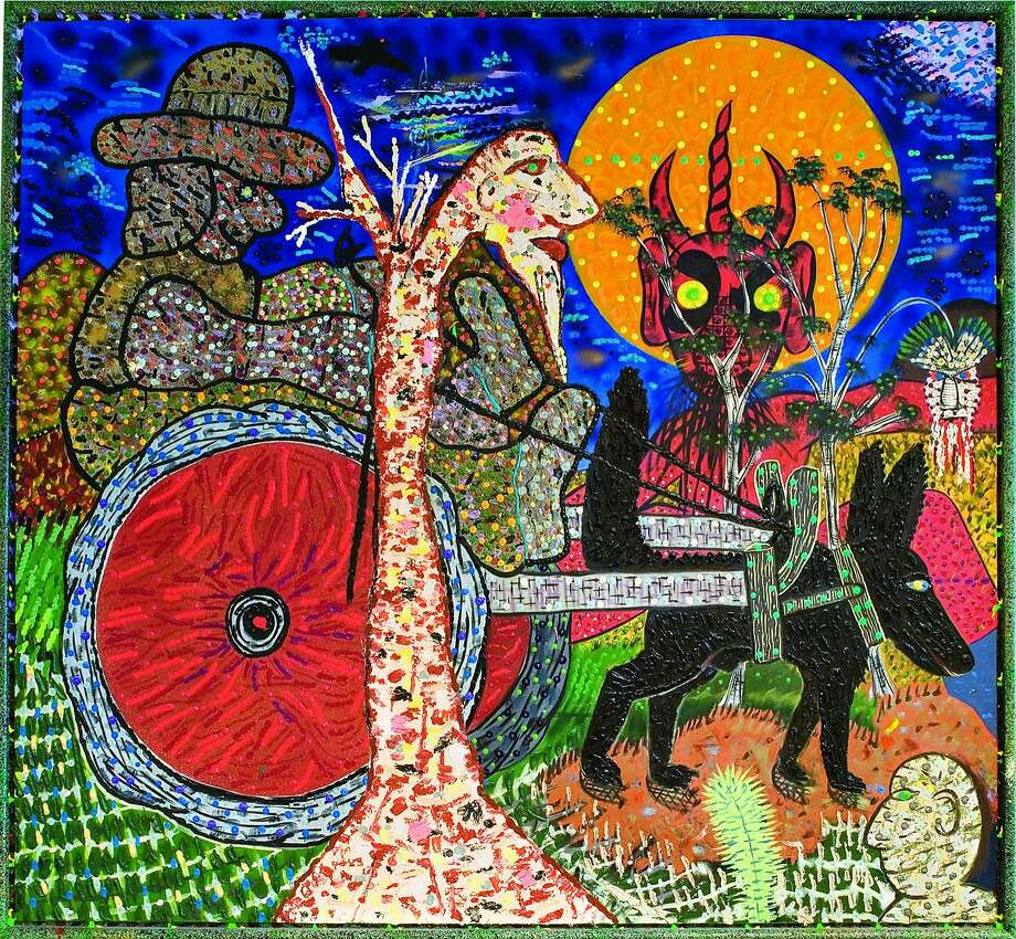 """""""Dogcart from Hell,"""" by Roy De Forest (1988), is included in the retrospective at the Oakland Museum of California. Photo: Photo Courtesy Of The Roy De Forest Estate And The Oakland Museum"""