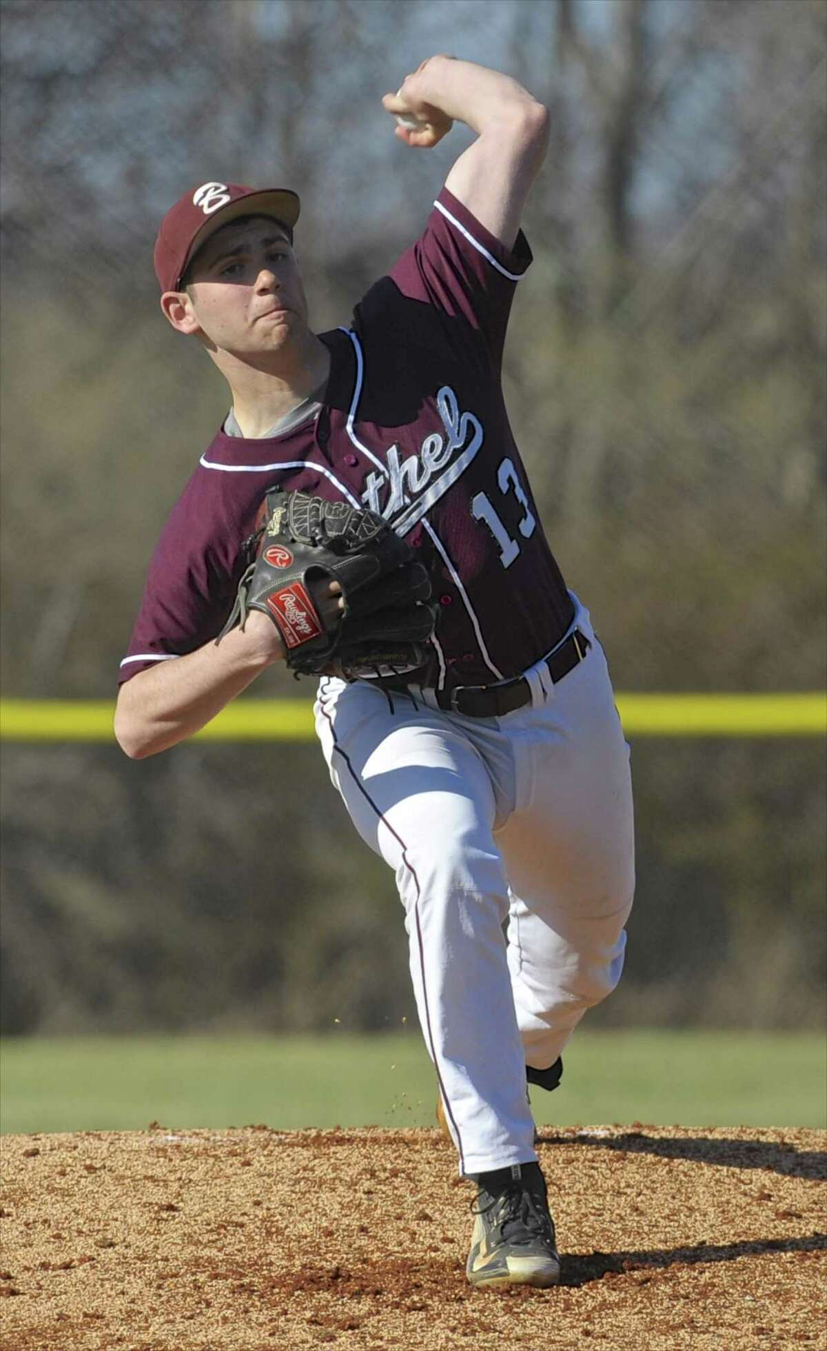Bethel's Ben Brod (13) pitching in the boys baseball game between Bethel and New Fairfield high schools on Wednesday afternoon, April 13, 2016, at New Fairfield High School, New Fairfield, Conn.