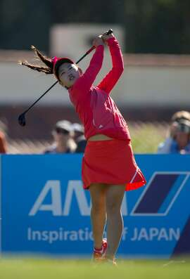 FILE - ANA Junior Inspiration champion Lucy Li tees off of the fifth hole during the first round of the ANA Inspiration at Mission Hills Country Club on March 29, 2017 in Rancho Mirage, California. (Photo by Kelly Kline/ANA Inspiration)