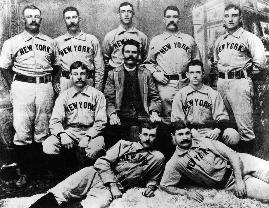 The year after they spent a winter playing in San Francisco, the New York Giants, above, won their first major-league title. The Chronicle dedicated a full page touting the start of the 1887 winter season. Photo: Transcendental Graphics, Getty Images