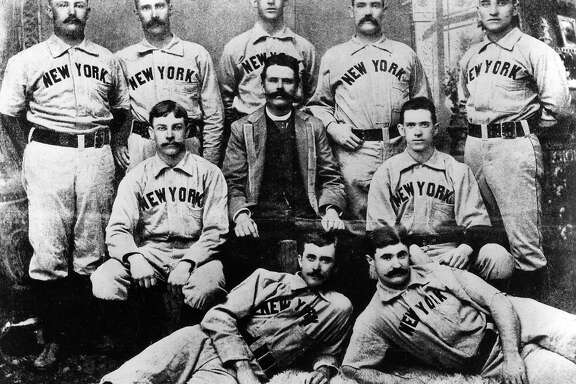 NEW YORK - 1888.  The New York Giants Base Ball Club of the National League poses for a team photograph with their officers in a New York City studio during the season of 1888.   (Photo by Mark Rucker/Transcendental Graphics, Getty Images)