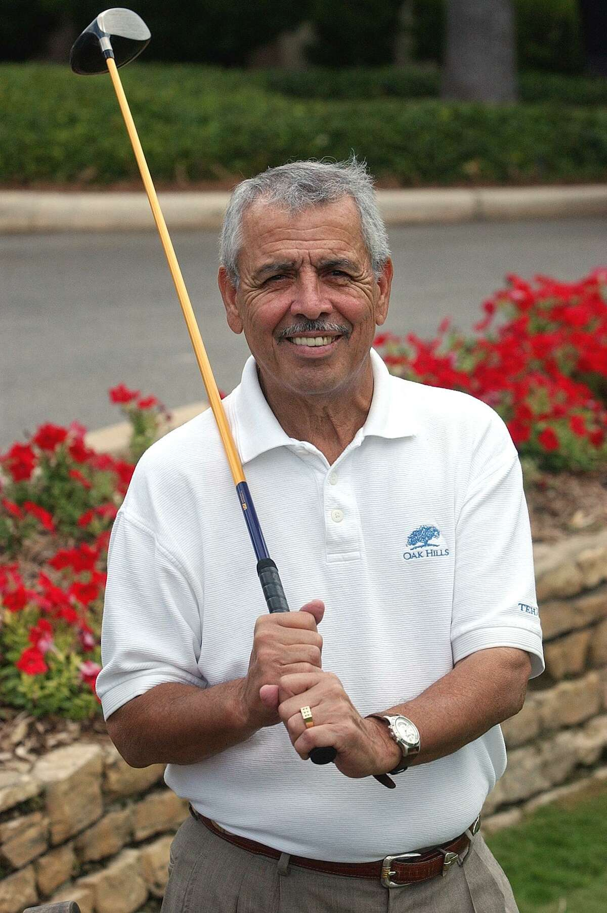 Ray Cevallos gets ready to tee off at Oak Hills Country Club Tuesday, June 4, 2002. Photo by Tom Reel/Staff