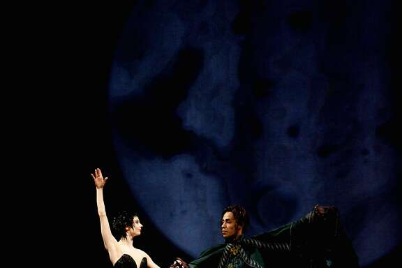 Maria Kochetkova, left, and Daniel Deivison-Oliveira perform during a dress rehearsal of Sawn Lake in the War Memorial  Opera House on Thursday, March 30, 2017, in San Francisco, Calif.