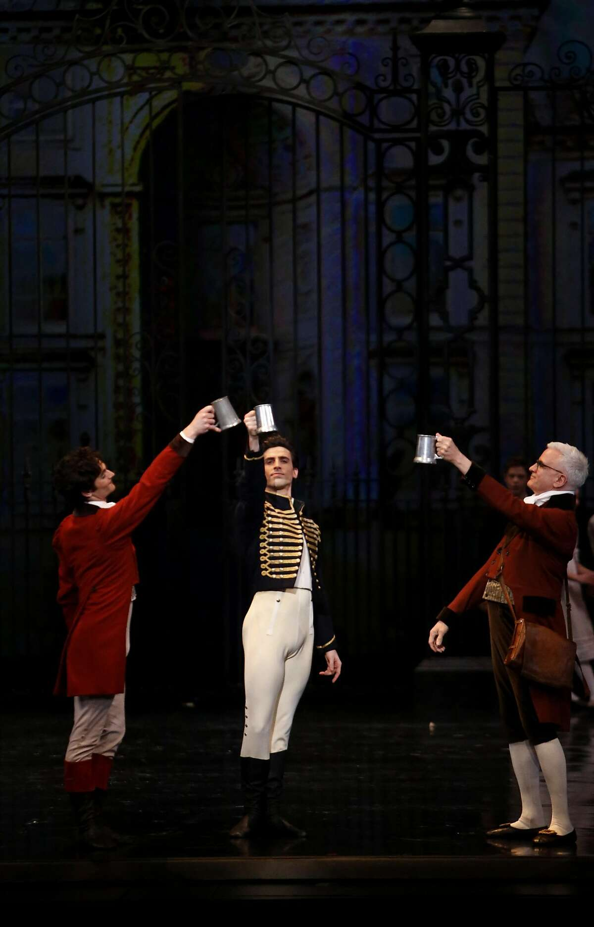 Joseph Walsh, center, performs with the San Francisco Ballet during a dress rehearsal of Sawn Lake in the War Memorial Opera House on Thursday, March 30, 2017, in San Francisco, Calif.