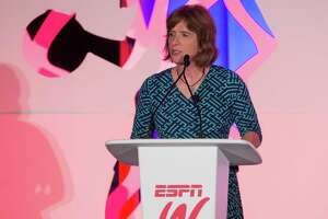 espnW's Carol Stiff speaks to the audience during the espnW Summit at St. Regis Monarch Resort on October 14, 2015 in Dana Point, Calif.