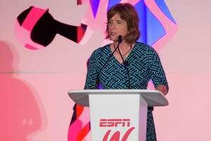 espnW's Carol Stiff speaks to the audience during the espnW Summit at St. Regis Monarch Resort on October 14, 2015 in Dana Point, Calif.