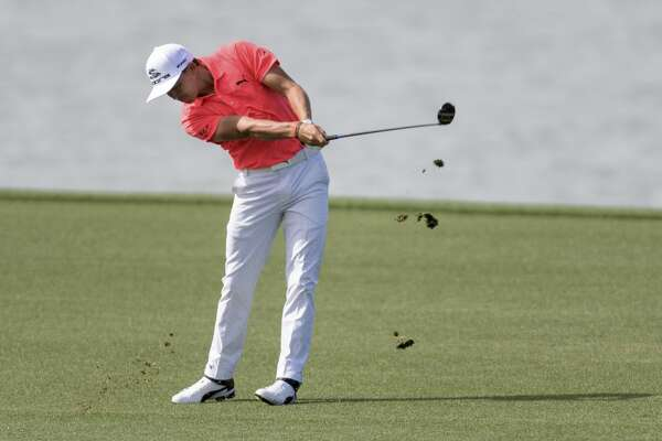 Rickie Fowler hits from the 18th fairway during the first round of the Houston Open golf tournament Thursday, March 30, 2017, in Humble Texas. (Wilf Thorne/Houston Chronicle via AP)