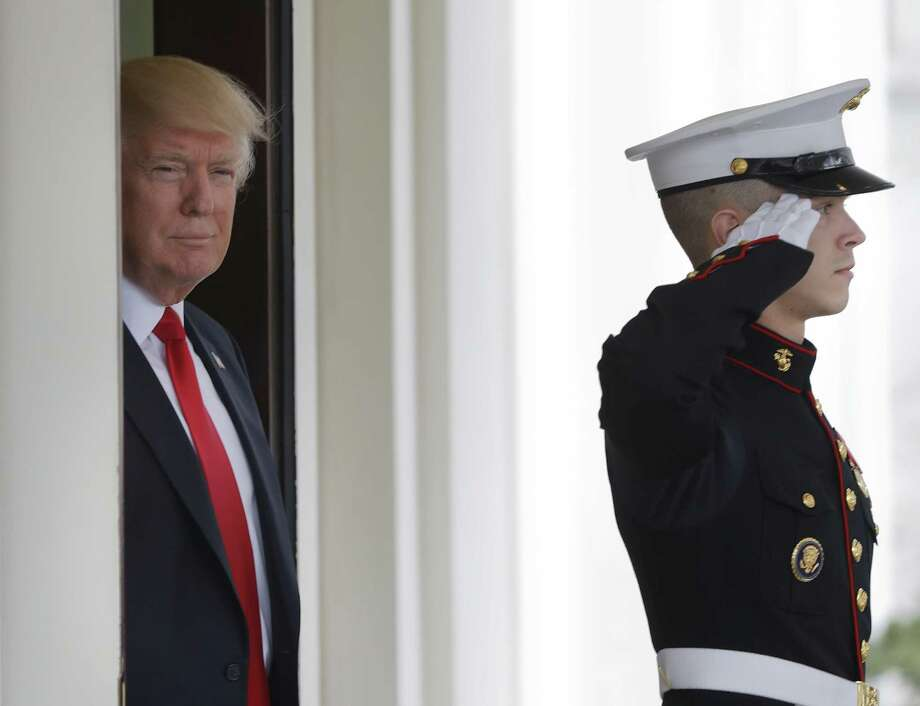 President Donald Trump awaits the arrival of Danish Prime Minister Lars Lokke Rasmussen at the White House in Washington, Thursday, March 30, 2017. (AP Photo/Pablo Martinez Monsivais) Photo: Pablo Martinez Monsivais, STF / Associated Press / Copyright 2017 The Associated Press. All rights reserved.