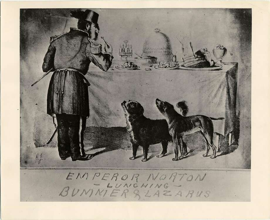 This cartoon of Emperor Norton at a free-lunch table with dogs Bummer and Lazarus infuriated the monarch.