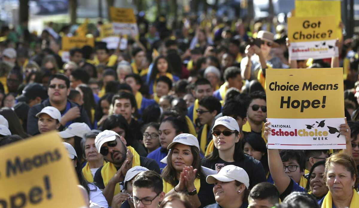 Parents, students and school administrators pack the from walkway of the Texas State Capitol at the Texas Coalition School Choice Rally, commemorating National School Choice Week on Tuesday, Jan. 24, 2017, in Austin, Texas.