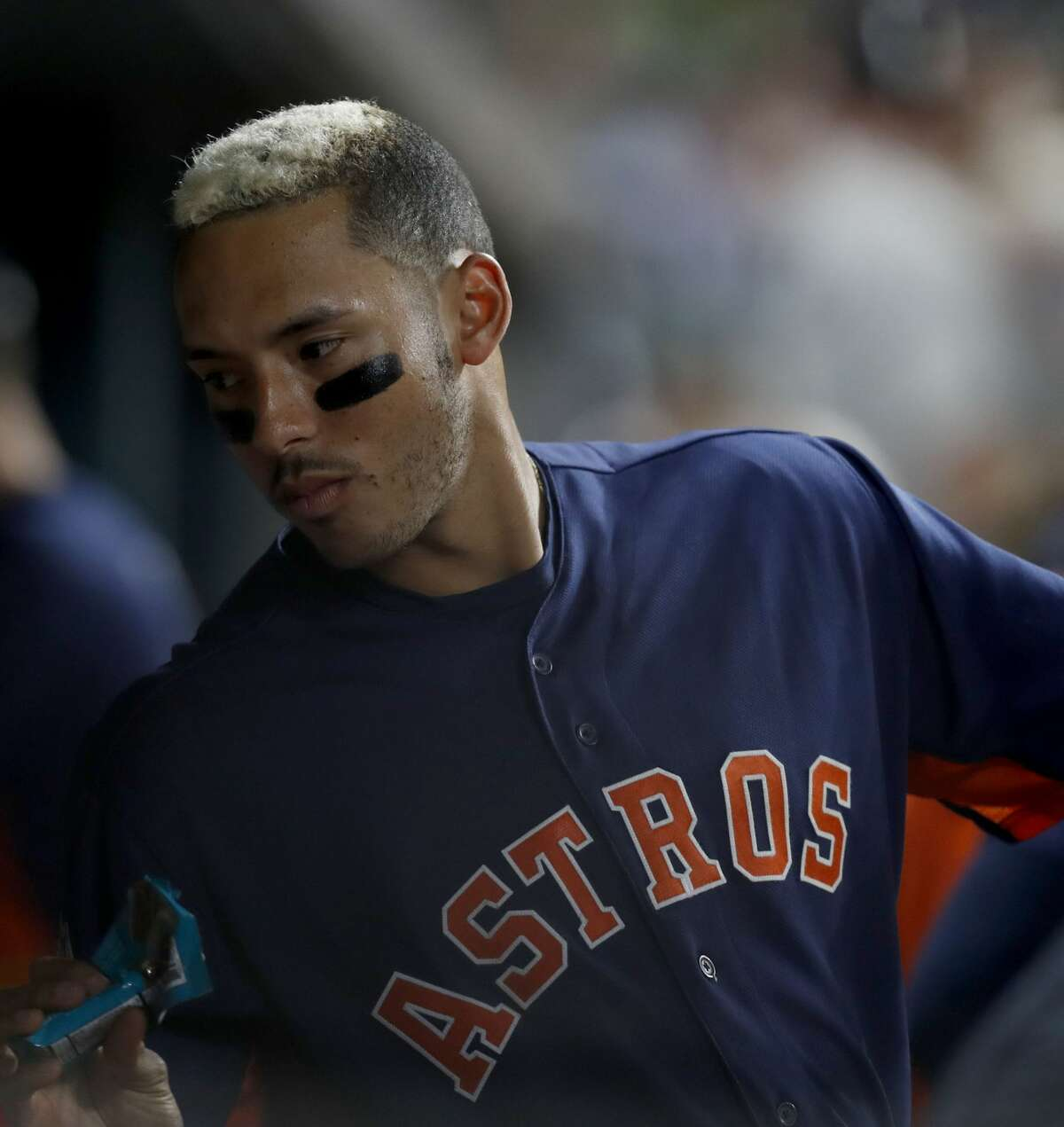 Houston Astros shortstop Carlos Correa (1) in the dugout during the sixth inning of an MLB exhibition game at Minute Maid Park, Thursday, March 30, 2017, in Houston. ( Karen Warren / Houston Chronicle )