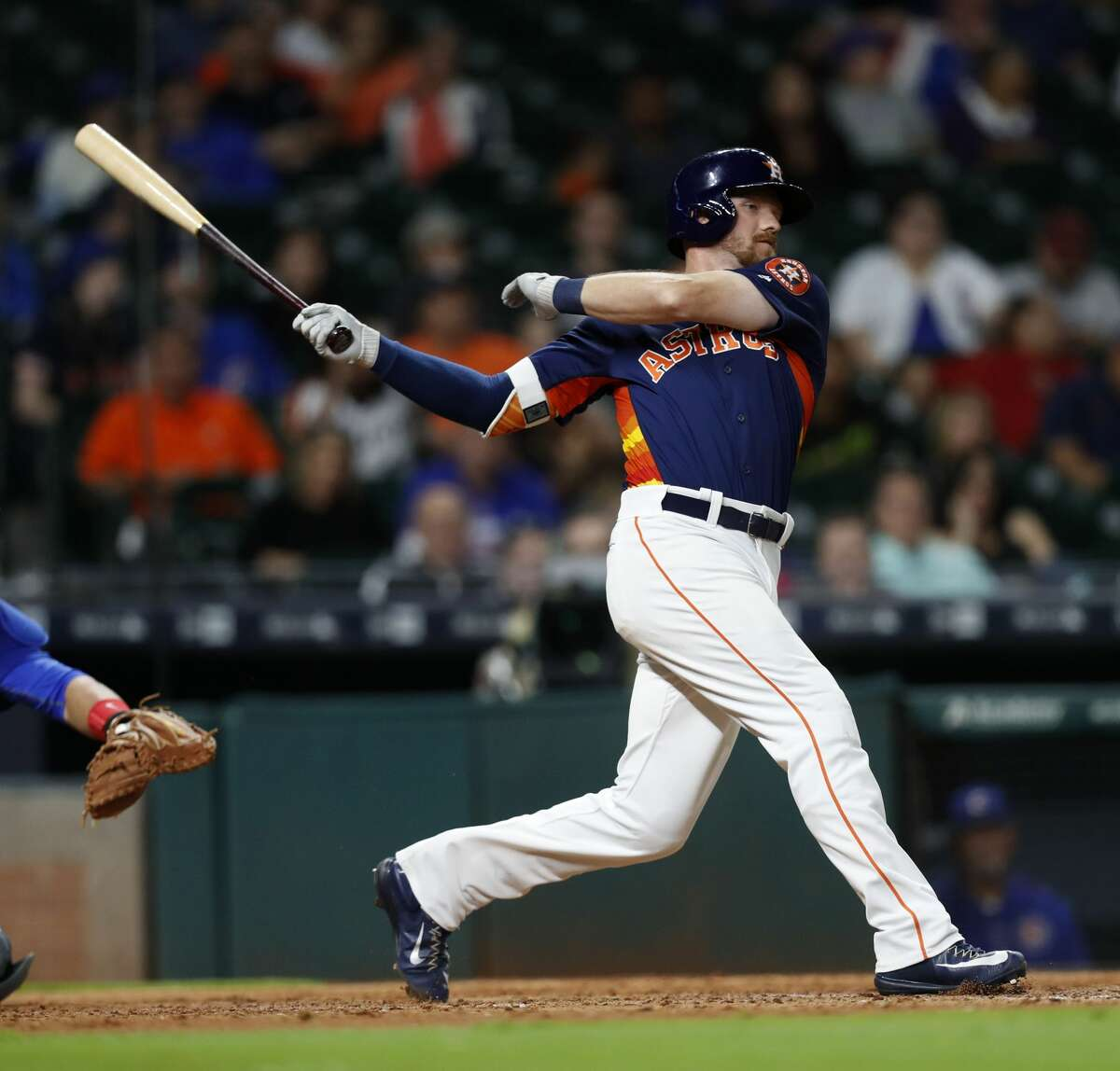 Houston Astros Derek Fisher (77) swings at a ball during his at bat in the eighth inning of an MLB exhibition game at Minute Maid Park, Thursday, March 30, 2017, in Houston. ( Karen Warren / Houston Chronicle )