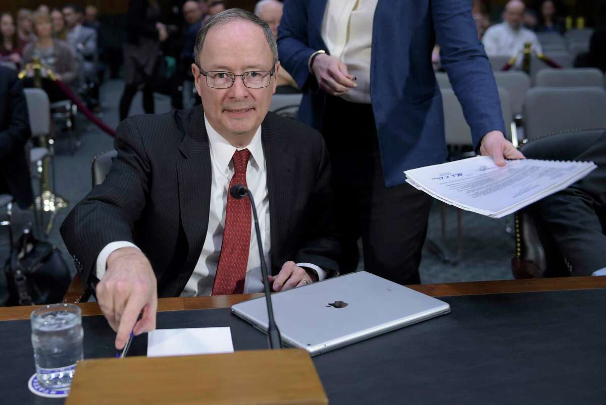 Former National Security Agency Director Keith Alexander arrives to testify before the Senate Intelligence Committee hearing on Capitol Hill in Washington, Thursday, March 30, 2017, on Russian intelligence activities. (AP Photo/Susan Walsh)