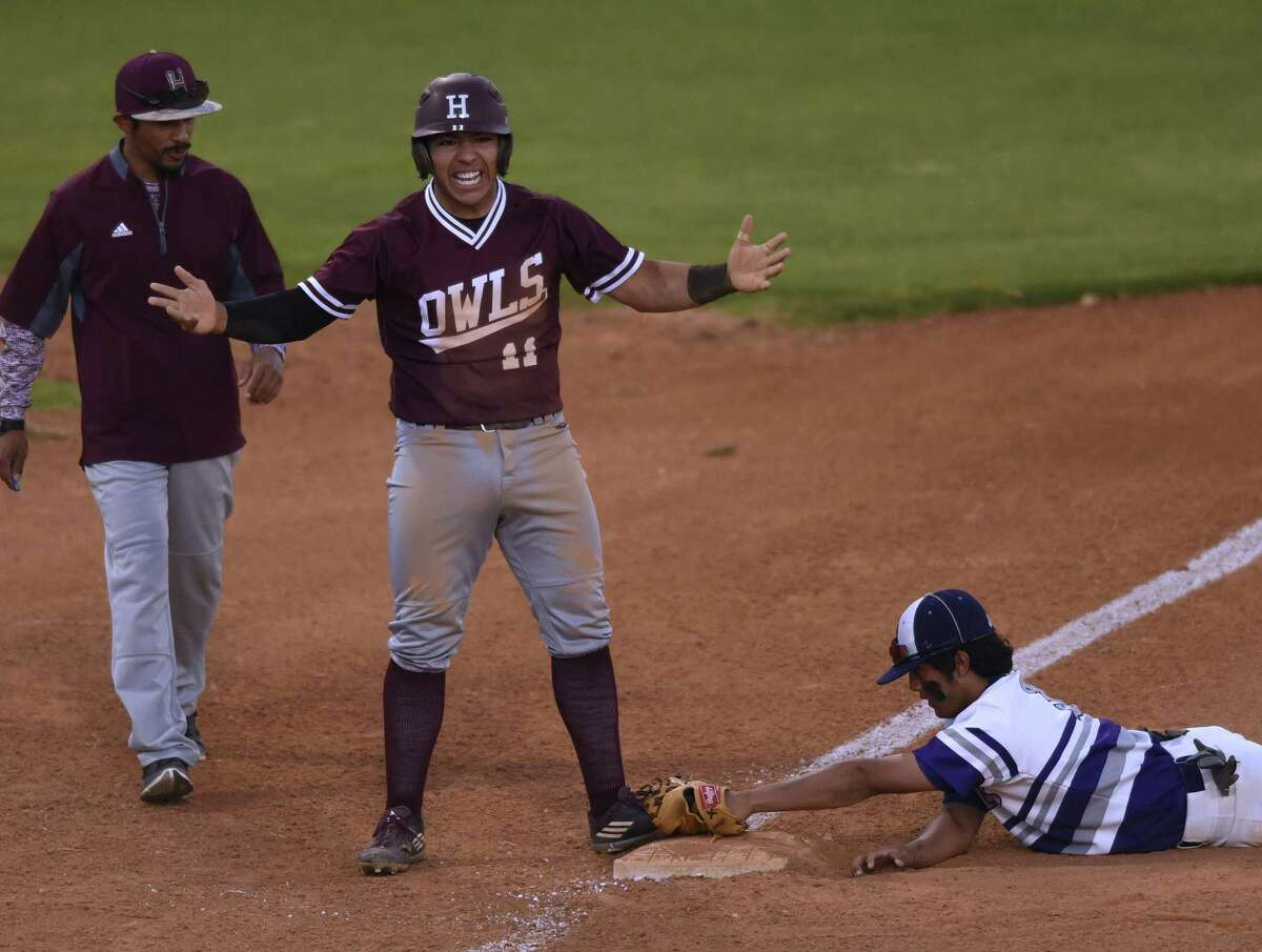 Roberto Palomino of Highlands celebrates after hitting a first-inning triple against Brackendrige during 28-5A baseball action at the SAISD baseball complex on Thursday, March 30, 20l17. Third baseman Jonathon Lucas applies a late tag.