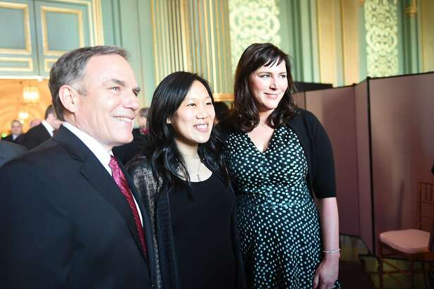 Priscilla Chan, The Chronicle�s 2017 Visionary of the Year (center) with San Francisco Chronicle Editor in Chief Audrey Cooper (right) and John Diaz, the newspaper�s editorial and opinion page editor, at the Visionary Awards gala on Thursday, March 30, 2017, at the Opera War Memorial in San Francisco, Calif.