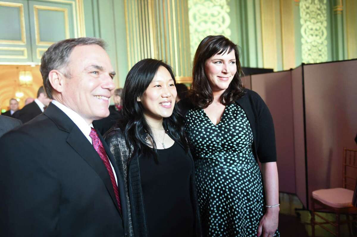 Priscilla Chan (center), The Chronicle's 2017 Visionary of the Year, with Chronicle Editorial Page Editor John Diaz and Editor in Chief Audrey Cooper.