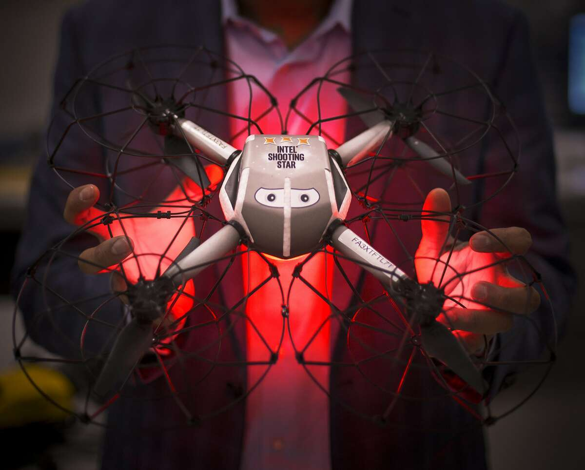 Anil Nanduri, GM of Intel's Drone Group, holds a Shooting Star drone at the Intel Drone Lab in Santa Clara, Calif. on March 30, 2017. 300 Shooting Star drones were used in Lady Gaga's Super Bowl LI Halftime performance, using their color changing LED's to form a waving American flag in the sky.