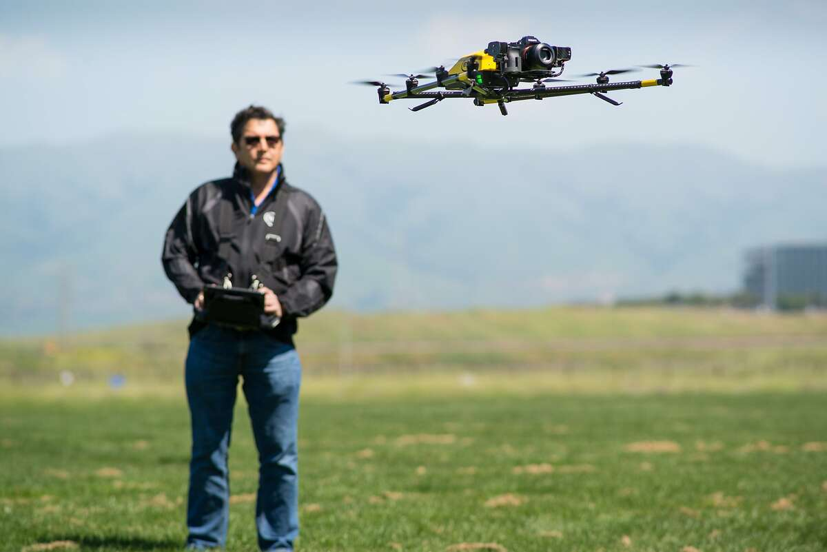Intel drone pilot Jeff Lo flies the Intel Falcon 8+ at Baylands Park in Sunnyvale, Calif. on March 30, 2017. The Falcon 8+ is designed for commercial use, including inspecting oil rigs and power lines with its swappable cameras.