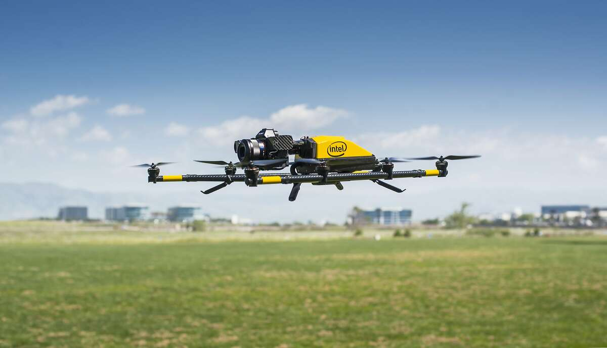 The Intel Falcon 8+ hovers at Baylands Park in Sunnyvale, Calif. on March 30, 2017. The Falcon 8+ is designed for commercial use, including inspecting oil rigs and power lines with its swappable cameras.