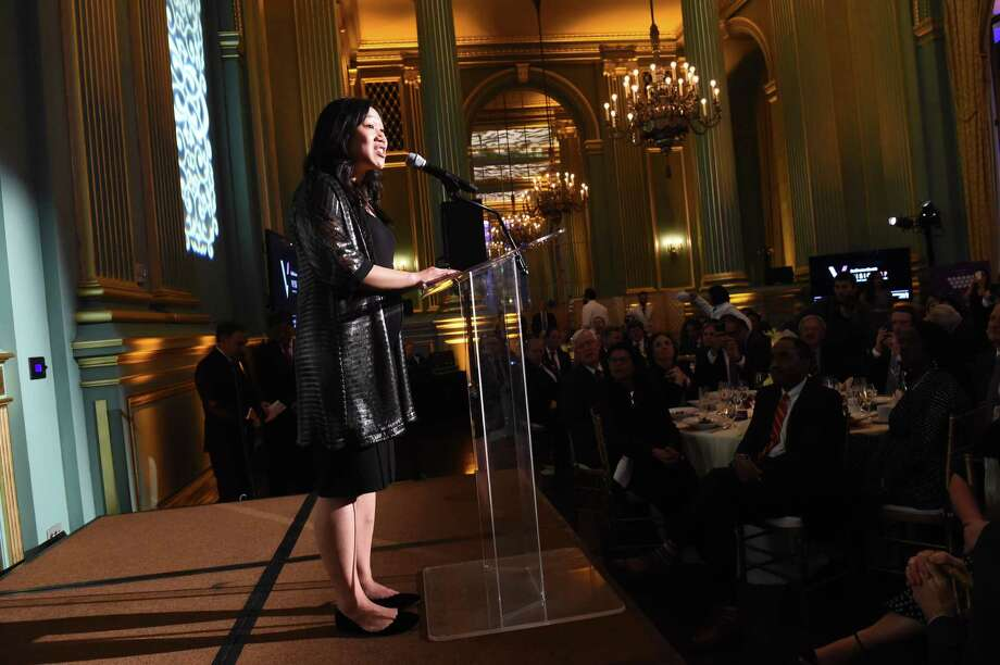 Dr. Priscilla Chan, a tireless advocate for children's health and education, speaks after accepting the award as the 2017 Visionary of the Year at the War Memorial Opera House in S.F. Photo: Susana Bates / Susana Bates / Special To The Chronicle / ONLINE_YES