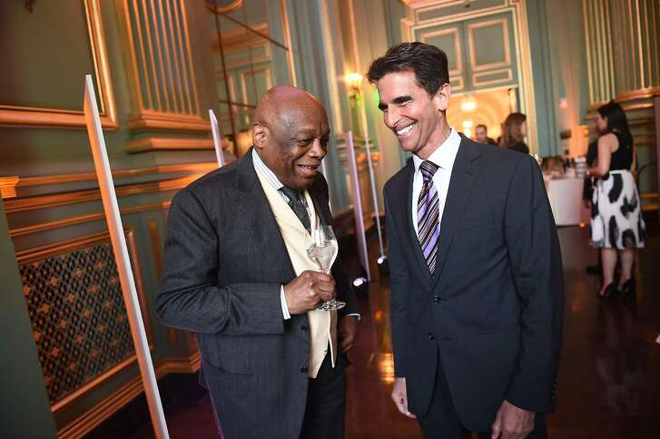 Willie Brown and Mark Leno attend the reception of the Visionary Of The Year Awards Gala at the San Francisco War Memorial on March 30, 2017.