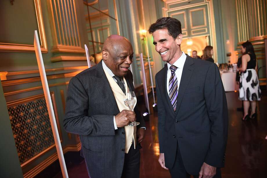 Willie Brown and Mark Leno at the reception for the Visionary of the Year Awards Gala at the San Francisco War Memorial on March 30, 2017. Photo: Susana Bates, Special To The Chronicle
