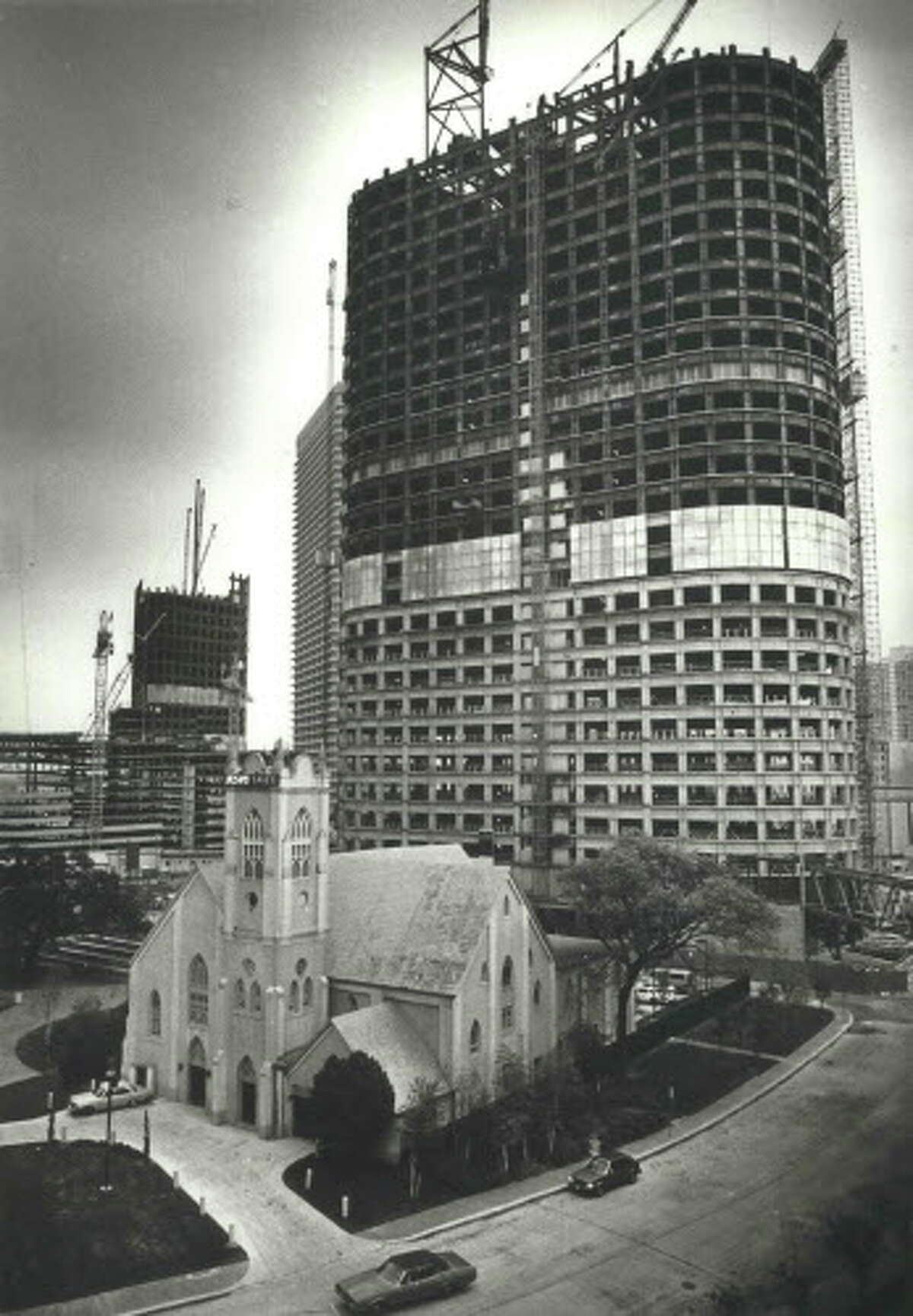 1400 Smith Street (seen here under construction in November 1982)  Completed in 1983 | 691 feet | 50 stories 1400 Smith Street