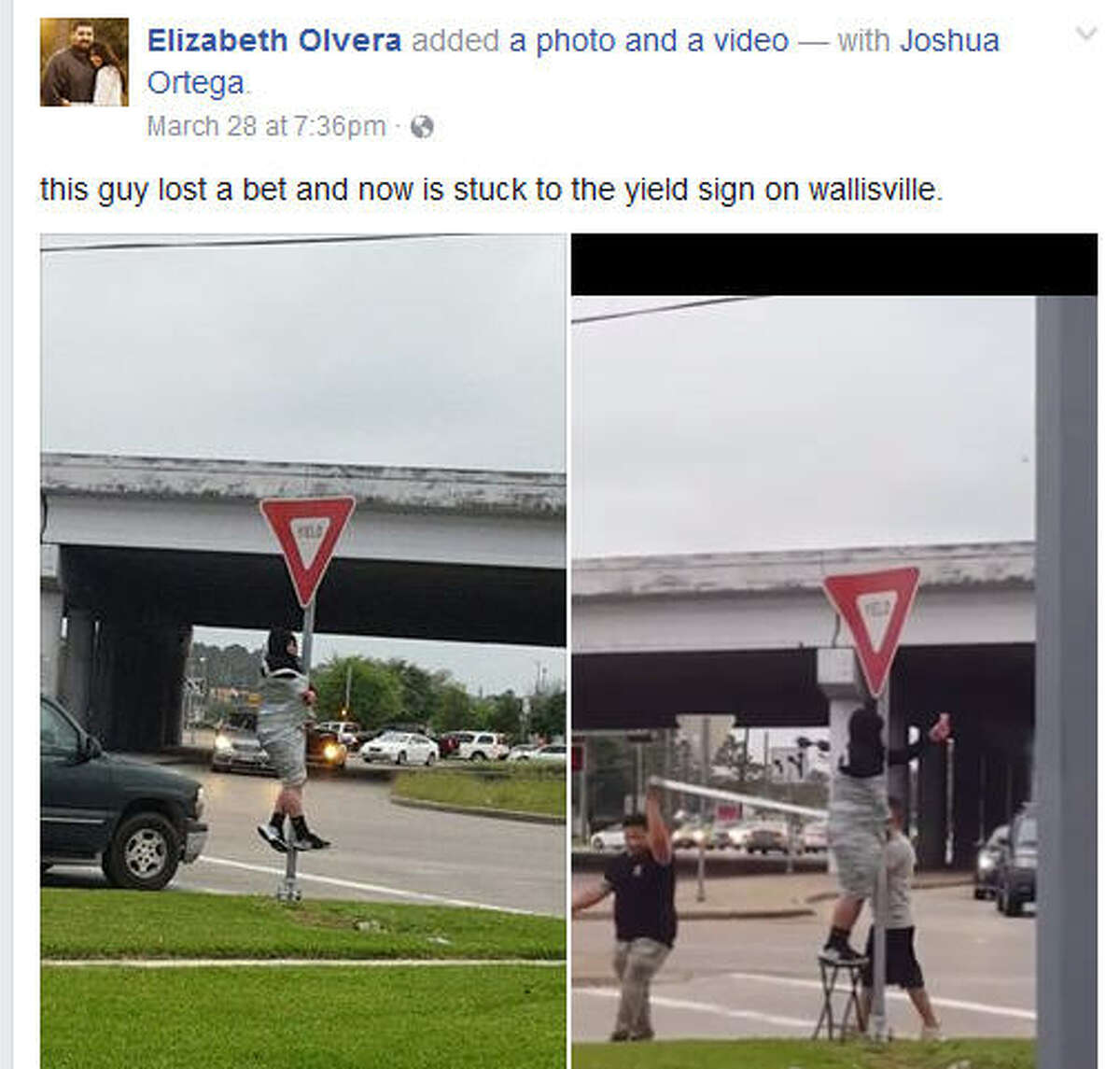 This man was left taped to a yield sign pole near in east Harris County after he lost a bet. Apparently, no one was hurt or arrested in the incident. (Facebook via Elizabeth Olvera)