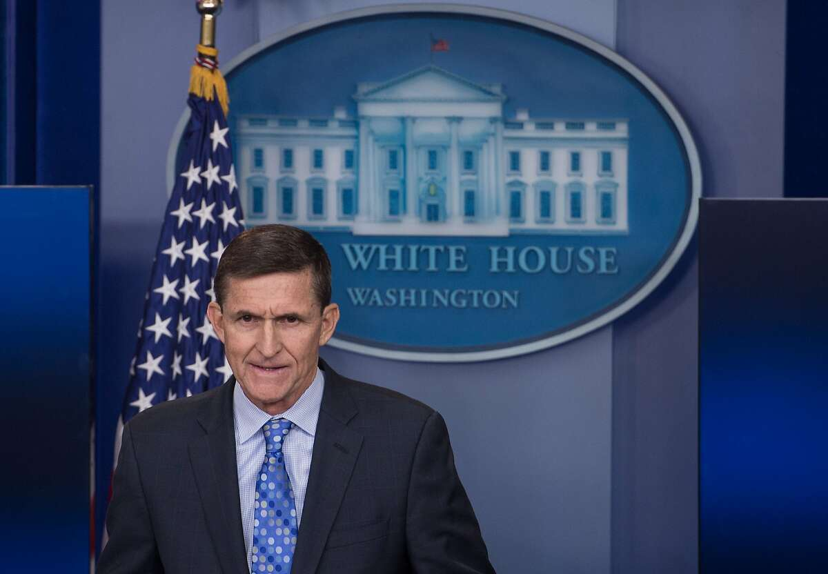 (FILES) This file photo taken on February 1, 2017 shows US National Security Adviser Mike Flynn speaking during the daily press briefing at the White House in Washington, DC. Flynn has