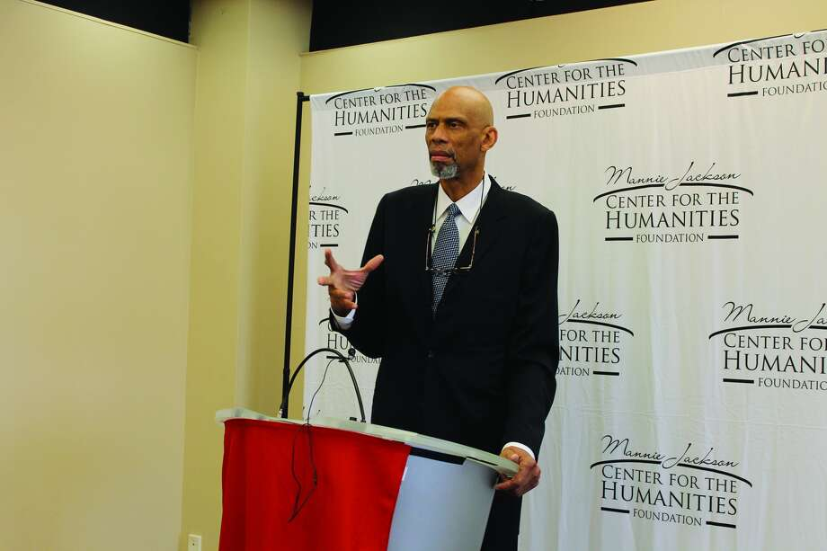 Basketball great and humanitarian Kareem Abdul-Jabbar speaks during a press conference Thursday prior to the Mannie Jackson Center for the Humanities annual banquet at SIUE's Morris University Center.