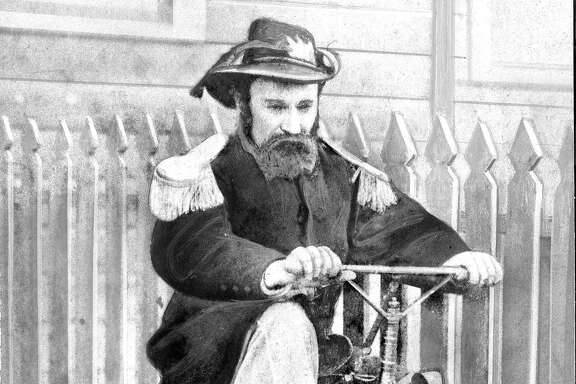 Emperor Norton on a bicycle   Emperor Joshua Norton  credit California Historical Society  Photo ran 05/10/1959, p. 16 Bonanza