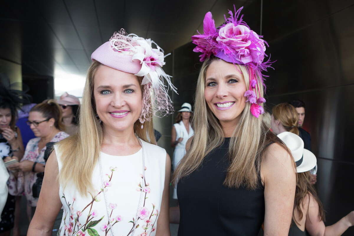 Mary D'Andrea and Gina Bhatia at the Hats in the Park luncheon in Hermann Park Thursday March 30, 2017 in Houston, TX.
