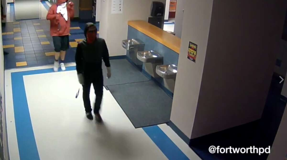 The Fort Worth Police Department is searching for three possibly middle or high school aged boys who were caught on surveillance footage breaking into an elementary school on March 27, 2017, they said on Facebook.