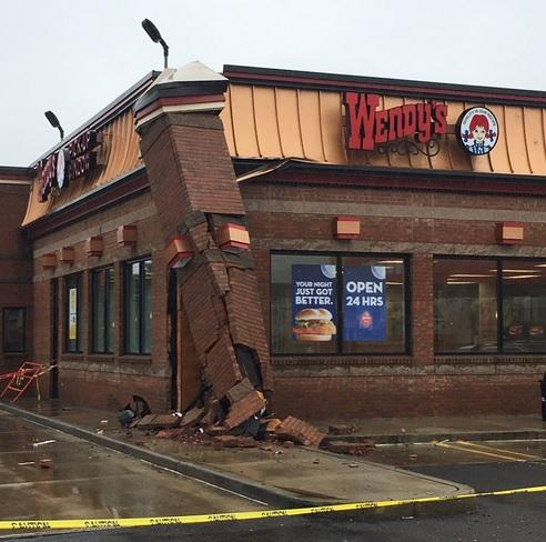 Vehicle takes out part of wall at wendy s in milford for Swanson s fish market