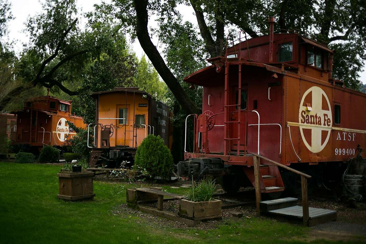 Railroad Caboose Bed and Breakfast in Upper Lake has nine themed, vintage railroad cabooses for visitors to stay in.