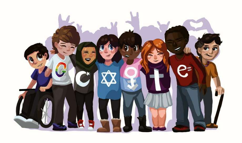 """This image of eight teenagers of various persuasions in an embrace, their shirts cryptically spelling out """"Google"""" is the art work of Bunnell High School sophomore Sarah Harrison. The image will remain on Google's home page until 3 a.m. on Saturday. Photo: Courtesy Of Google / Contributed Photo / Connecticut Post Contributed"""
