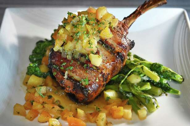 """Three Little Pigs"" pork chop at Duke's Chophouse in Rivers Casino Thursday March 23, 2017 in Schenectady, NY.  (John Carl D'Annibale / Times Union)"