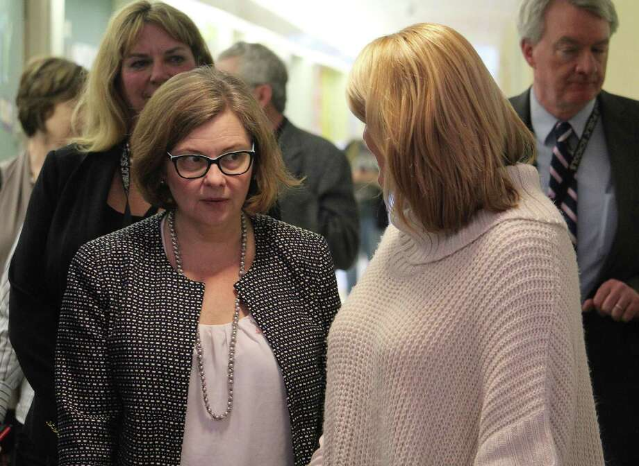 Rep. Brenda Kupchick, R-132, right, walks beside Connecticut Commissioner of Education Dianna Wentzell during a McKinley School visit in Fairfield on March 28. Photo: Laura Weiss / Hearst Connecticut Media / Fairfield Citizen