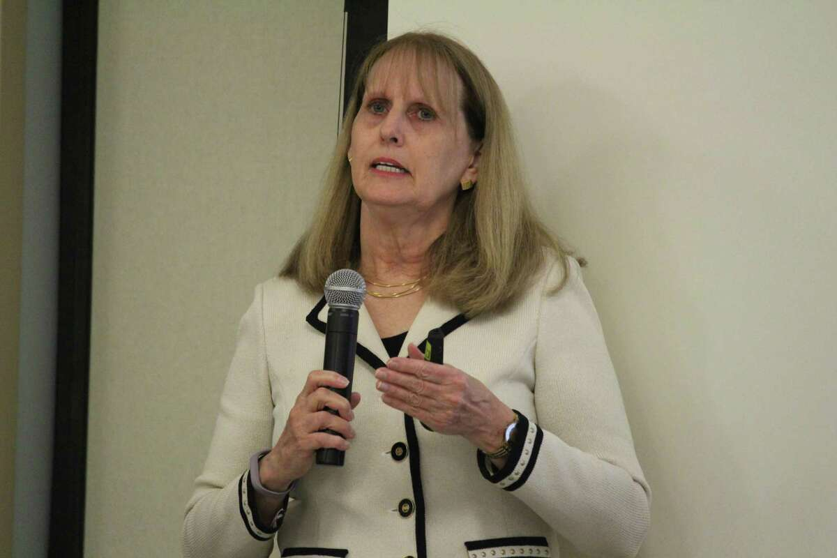 Superintendent Colleen Palmer explains the school budget reductions at school board meeting Monday