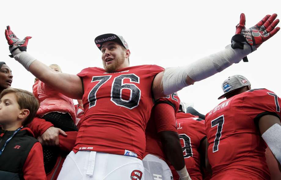 BOWLING GREEN, KY - DECEMBER 03: Forrest Lamp #76 of the Western Kentucky Hilltoppers celebrates following the game against the Louisiana Tech Bulldogs at Houchens-Smith Stadium on December 3, 2016 in Bowling Green, Kentucky. Western Kentucky defeated Louisiana Tech 58-44. (Photo by Michael Hickey/Getty Images) Photo: Michael Hickey/Getty Images