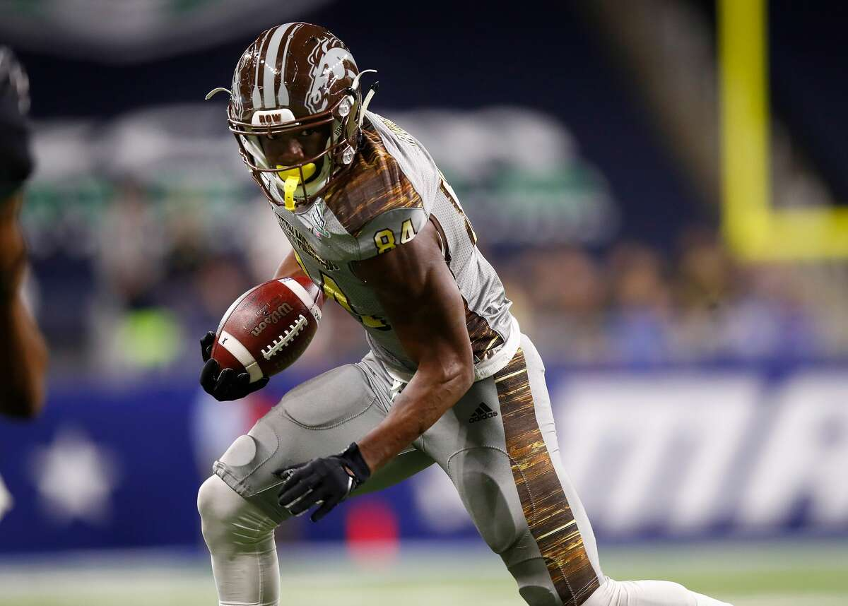 TOP FIVE 3. Corey Davis, 6-3, 209, 4.48, Western Michigan Mid-American Conference All-Time Offensive Player of the Year set college football all-time record with 5,285 receiving yards. Not bad for a former two-star recruit who overcame academic problems and a difficult upbringing. Davis caught 97 passes for 1,500 yards and 19 touchdowns last season and was named an All-American on the heels of a junior season during which he caught 90 passes for 1,436 yards and 12 scores. Prolific athlete with competitiveness, intensity and sharp route-running skills. Had the occasional drop while being targeted constantly, mishandling 16 passes over his final three seasons.